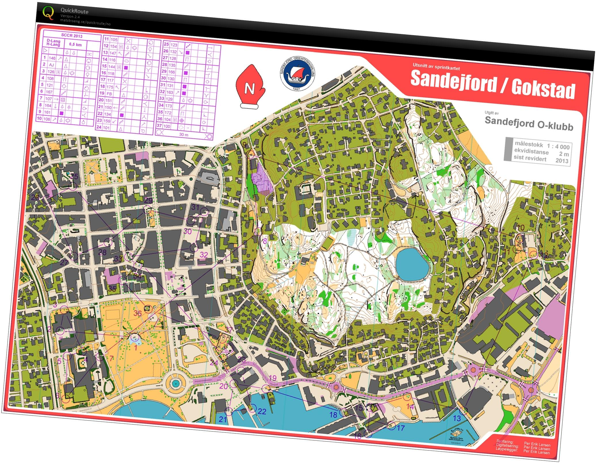 Sandefjord City Race December 17th 2013 Orienteering Map from